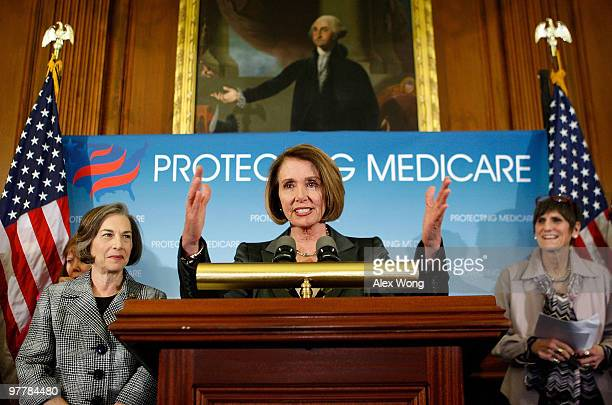 S Speaker of the House Rep Nancy Pelosi speaks as Rep Rosa DeLauro and Rep Jan Schakowsky look on during a news conference March 16 2010 on Capitol...