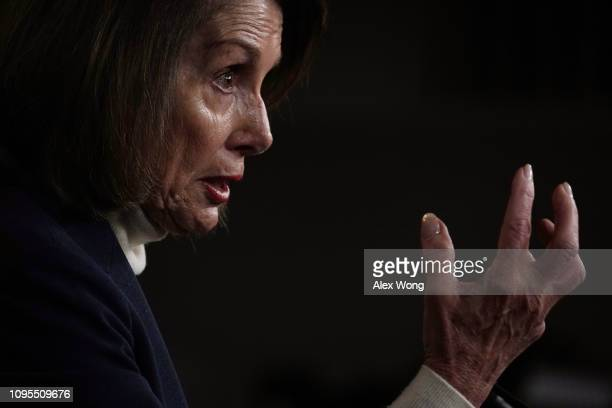 S Speaker of the House Rep Nancy Pelosi speaks during a weekly news conference January 17 2019 on Capitol Hill in Washington DC Speaker Pelosi...
