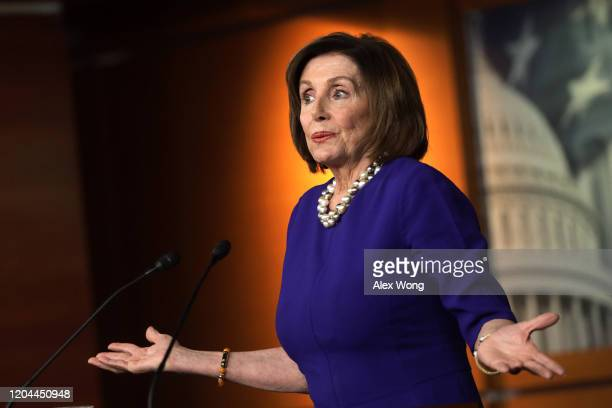 Speaker of the House Rep. Nancy Pelosi speaks during her weekly news conference February 6. 2020 on Capitol Hill in Washington, DC. Speaker Pelosi...