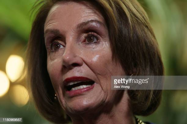 S Speaker of the House Rep Nancy Pelosi speaks to members of the media after a House Democrats meeting at the Capitol May 22 2019 in Washington DC...