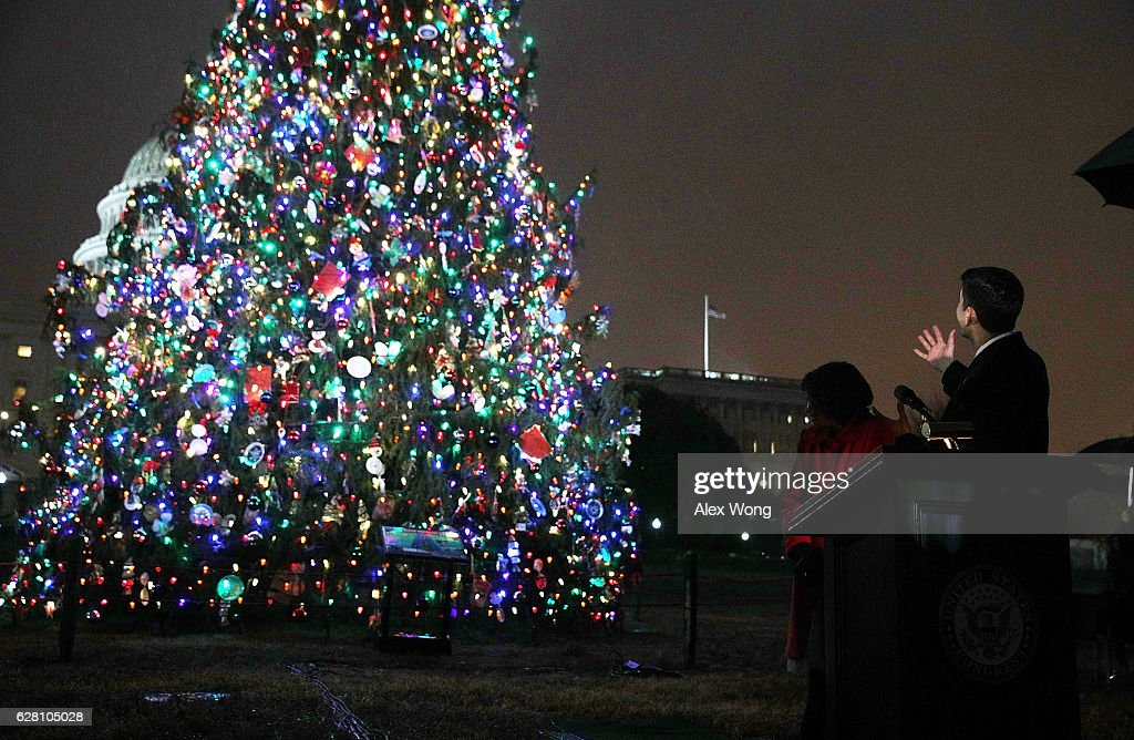 S Speaker of the House Rep Paul Ryan and fifthgrader Isabella Gerard of Boise Idaho participate & Capitol Christmas Tree Lighting Ceremony Stock Photos and Pictures ... azcodes.com