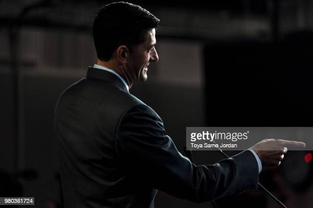 S Speaker of the House Rep Paul Ryan delivers remarks during his weekly press conference on June 21 2018 in Washington DC