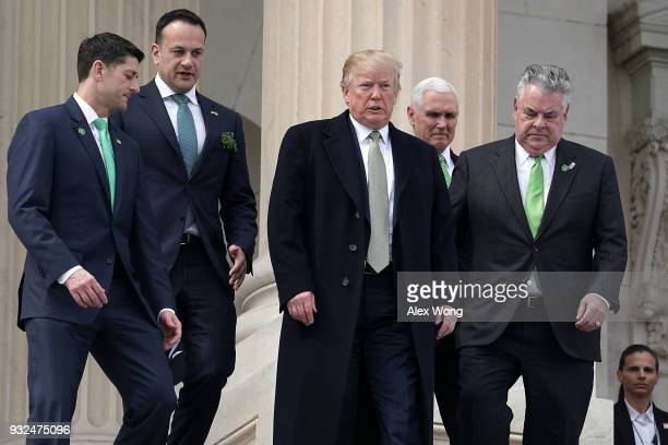 US Speaker of the House Rep Paul Ryan Irish Taoiseach Leo Varadkar President Donald Trump US Vice President Mike Pence and US Rep Peter King walk...