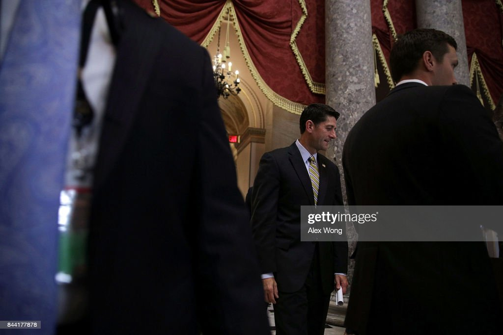 U.S. Speaker of the House Rep. Paul Ryan (R-WI) passes through the Statuary Hall after a vote at the Capitol September 8, 2017 in Washington, DC. The House has passed a package with a vote of 316 - 90 to fund the disaster relief for Hurricane Harvey, raise the debt ceiling for three months and keep the government open through the end of December.