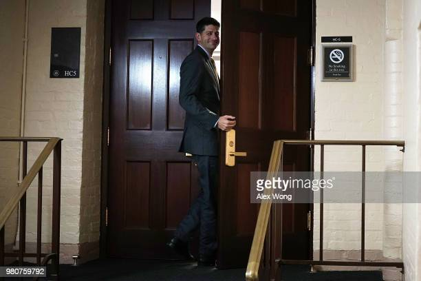 S Speaker of the House Rep Paul Ryan returns to the room after a short break during a House Republican closed door meeting on immigration June 21...