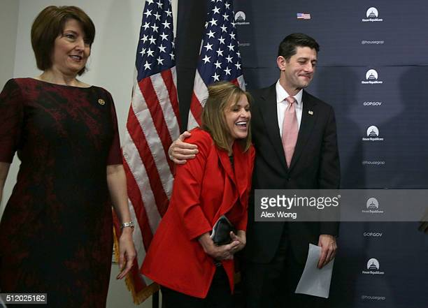 S Speaker of the House Rep Paul Ryan shares a moment with House Republican Conference Vice Chair Rep Lynn Jenkins as House Republican Conference...