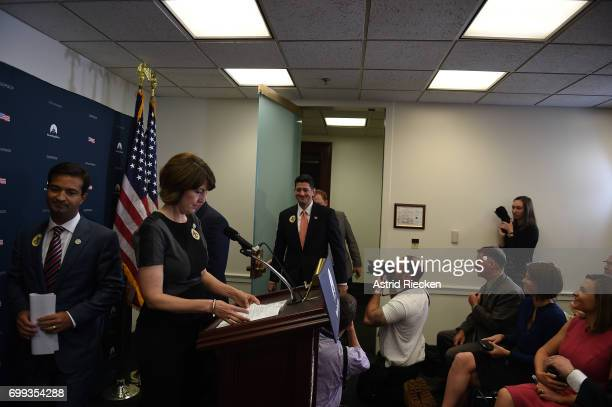 S Speaker of the House Rep Paul Ryan smiles while joining other members of the GOP House Leadership to speak to the media on Capitol Hill after their...