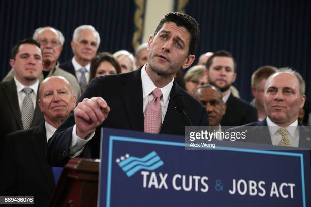 S Speaker of the House Rep Paul Ryan speaks as Chairman of House Ways and Means Committee Rep Kevin Brady and House Majority Whip Rep Steve Scalise...
