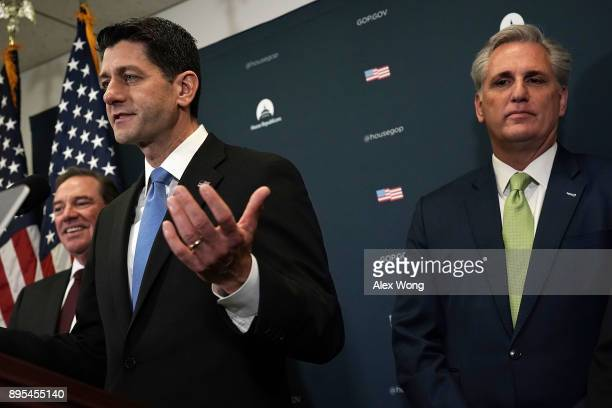 S Speaker of the House Rep Paul Ryan speaks as House Majority Leader Rep Kevin McCarthy and Rep Neal Dunn listen during a news briefing after a House...