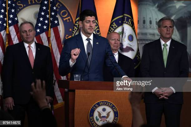 US Speaker of the House Rep Paul Ryan speaks as Rep MIke Johnson and House Republican Conference Chair Cathy McMorris Rodgers listen during a news...