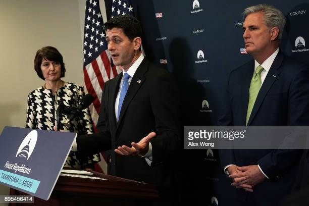 S Speaker of the House Rep Paul Ryan speaks as House Republican Conference Chair Rep Cathy McMorris Rodgers and House Majority Leader Rep Kevin...
