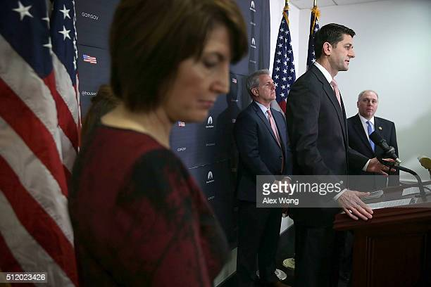 S Speaker of the House Rep Paul Ryan speaks as Majority Leader Rep Kevin McCarthy Majority Whip Rep Steve Scalise and House Republican Conference...