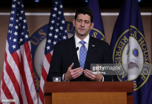 S Speaker of the House Rep Paul Ryan speaks during a weekly news briefing May 25 2017 on Capitol Hill in Washington DC Speaker Ryan took questions...