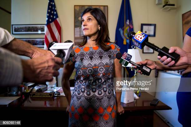 Speaker of the House Sara Gideon talks the the press in her office at the Maine State House during the third day of the state government shutdown....