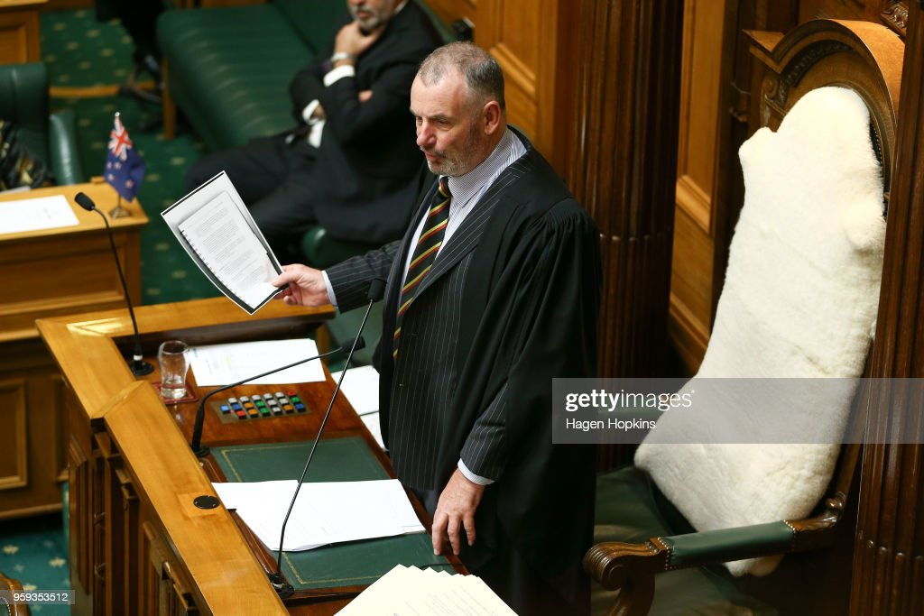 Speaker of the House Trevor Mallard speaks to National MP Gerry Brownlee during the 2018 budget presentation at Parliament on May 17, 2018 in Wellington, New Zealand. Grant Robertson delivered his first budget which sees a large investment in the health sector including cheaper doctor visits and investment in hospitals along with $1.6b dollars of new funding for the education sector over the next four years.