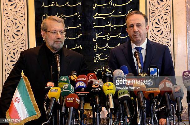 Speaker of the Iran's Parliament Ali Larijani and Speaker of the People's Council in Syria Mohammad Jihad alLaham hold a joint press conference...