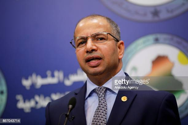 Speaker of the Iraqi Parliament Salim alJabouri makes a speech on the current situation of the Iraqi Kurdish Regional Government's Members of...