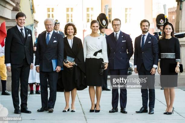 Speaker of the parliament Andreas Norlen, Carl XVI Gustaf, Queen Silvia, Princess Victoria, Prince Daniel, Prince Carl Phillip, and Princess Sofia of...