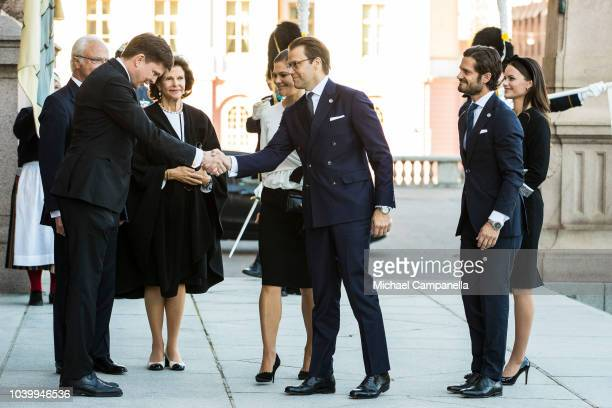 Speaker of the parliament Andreas Norlen greets Princess Victoria and Prince Daniel of Sweden while attending the opening parliamentary session at...