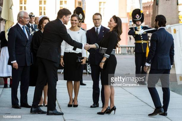 Speaker of the parliament Andreas Norlen greets the Swedish royal family while attending the opening parliamentary session at the Riksdag...