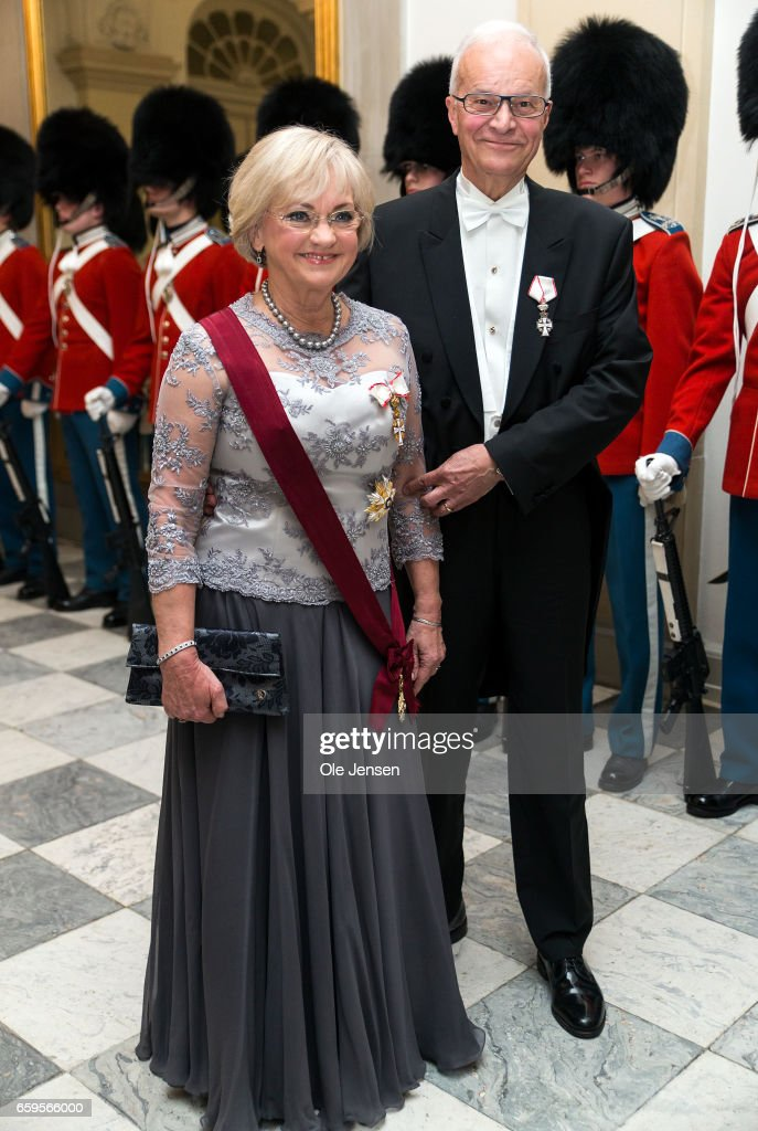 Speaker of the Parliament Pia Kaersgaard and husband during arrival to the to the State Dinner on the occasion of the visiting Belgian King and Queen at Christiansborg on March 28, 2017 in Copenhagen, Denmark. The royal Belgian couple will be on a state visit from March 28 till March 30.