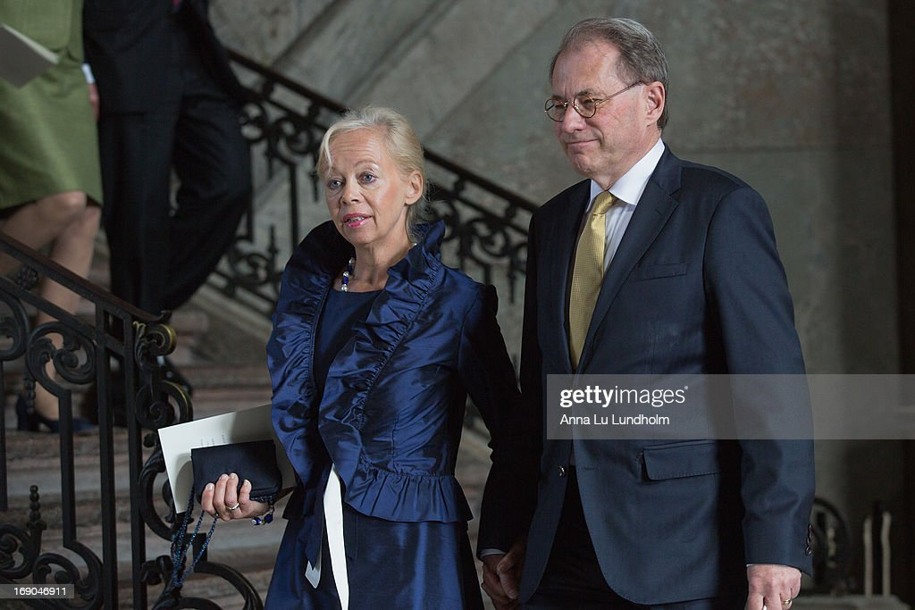 Speaker of the Swedish Riksdag Per Westerberg and wife Ylwa Westerberg visit the wedding preparations for H.K.H. Princess Madeleine and Mr. Christopher O'Niell on May 19, 2013 in Stockholm, Sweden.