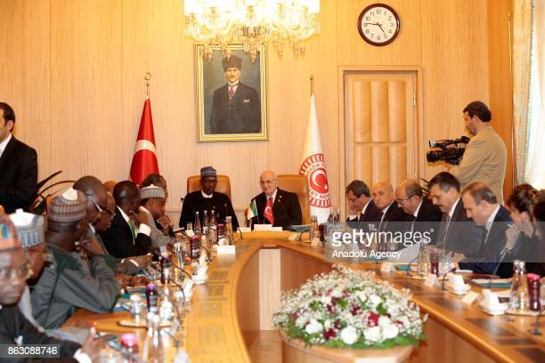 Speaker of the Turkey's Grand National Assembly Ismail Kahraman and President of Nigeria Muhammadu Buhari meet at the Grand National Assembly of...