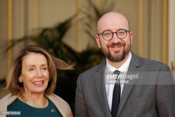 Speaker of the United States House of Representatives Nancy Pelosi and Belgian Prime Minister Charles Michel pictured during a meeting between...
