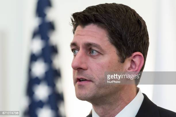 Speaker of the United States House of Representatives Paul Ryan speaks to the media after a meeting with Polish President Andrzej Duda in the...