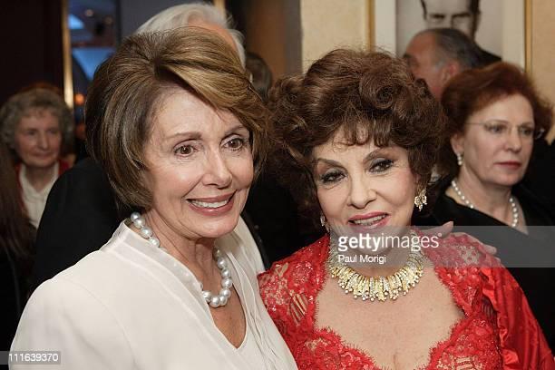 Speaker of the US House of Representatives Nancy Pelosi and Actress Gina Lollobrigida mingle at the NIAF 32nd Anniversary Awards Gala at the Hilton...