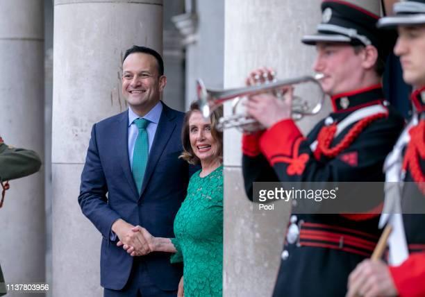 Speaker of the U.S. House of Representatives Nancy Pelosi meets Taoiseach Leo Varadkar at the State Apartments in Dublin Castle April 17, 2019 in...