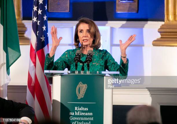 Speaker of the U.S. House of Representatives Nancy Pelosi speaks at a reception hosted by Taoiseach Leo Varadkar in the State Apartments in Dublin...