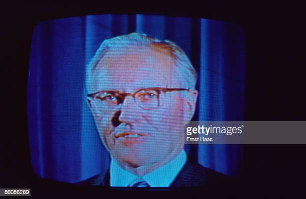 A speaker on a television screen broadcast September 1975