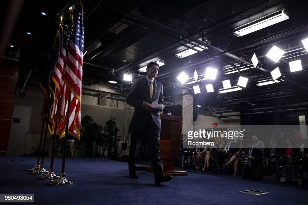 Speaker Paul Ryan a Republican from Wisconsin exits after speaking during a news conference on Capitol Hill in Washington DC US on Thursday June 21...
