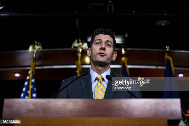 Speaker Paul Ryan a Republican from Wisconsin speaks during a news conference on Capitol Hill in Washington DC US on Thursday June 21 2018...