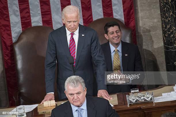 Speaker Paul Ryan RWis top right reacts as Vice President Joe Biden top left puts down an objection to Electoral College count by a Democratic House...