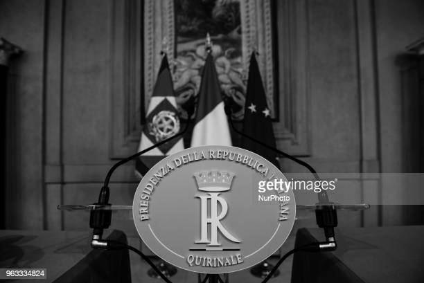 Speaker podium inside the Quirinale presidential palace in Rome Italy before Carlo Cottarelli former director of the IMF speech on May 28 2018...