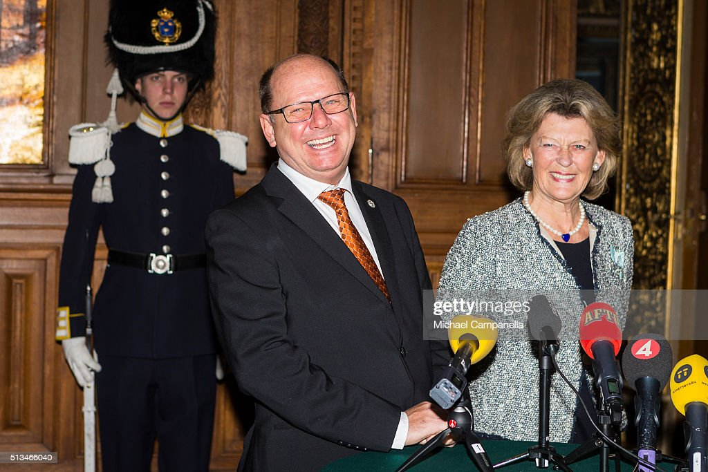 Speaker Urban Ahlin and Kirstine von Blixen-Finecke give a press conference announcing the birth of Prince Oscar Carl Olof at the Royal Palace on March 3, 2015 in Stockholm, Sweden.