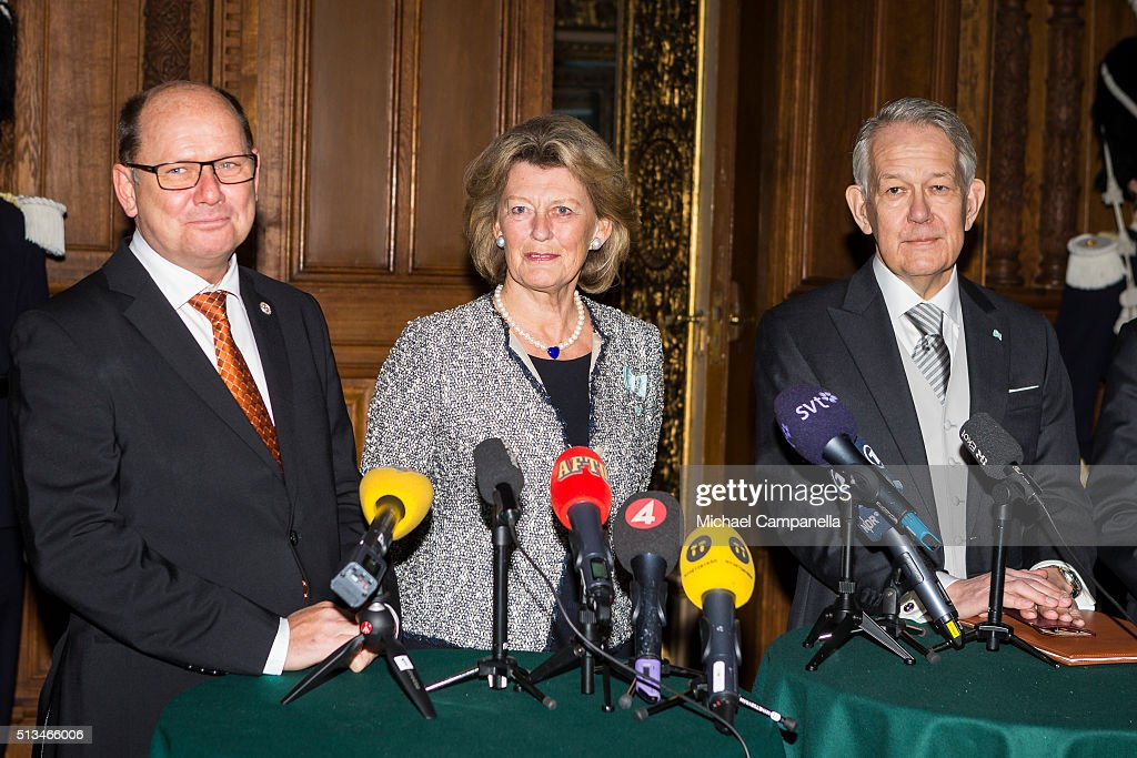 Speaker Urban Ahlin, Kirstine von Blixen-Finecke, permanent secretary Svante Lindqvist give a press conference announcing the birth of Prince Oscar Carl Olof at the Royal Palace on March 3, 2015 in Stockholm, Sweden.