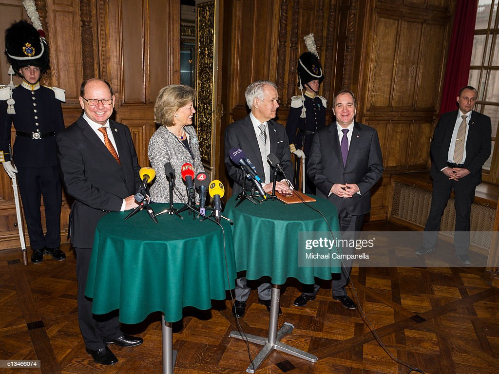 Speaker Urban Ahlin, Kirstine von Blixen-Finecke, permanent secretary Svante Lindqvist, and prime minister Stefan Lofven give a press conference announcing the birth of Prince Oscar Carl Olof at the Royal Palace on March 3, 2015 in Stockholm, Sweden.