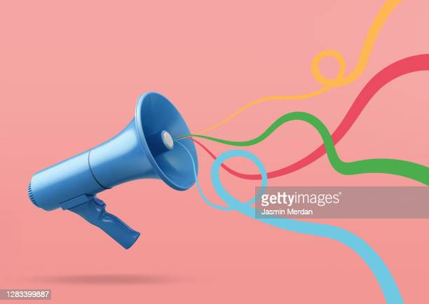 speaker with colourful sound waved ribbons - the media stock pictures, royalty-free photos & images