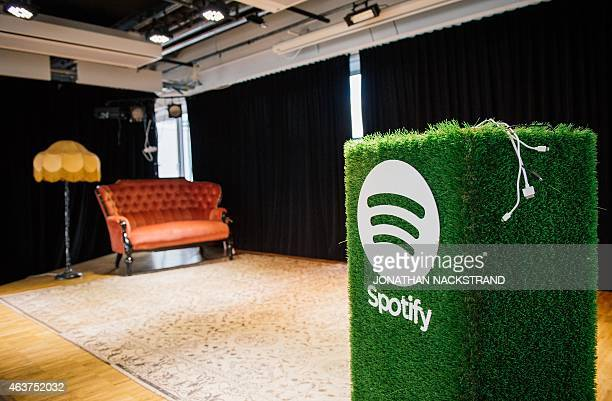 A speaker with the Spotify logo is pictured in the cafeteria of the company headquarters in Stockholm is pictured on February 16 2015 AFP...