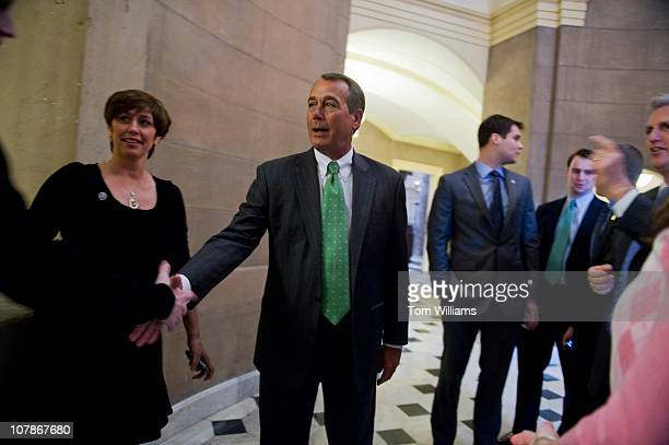 Speakerdesigante John Boehner ROhio greets Judy McCarthy left wife of incoming Majority Whip Kevin McCarthy RCalif and other visitors outside of...