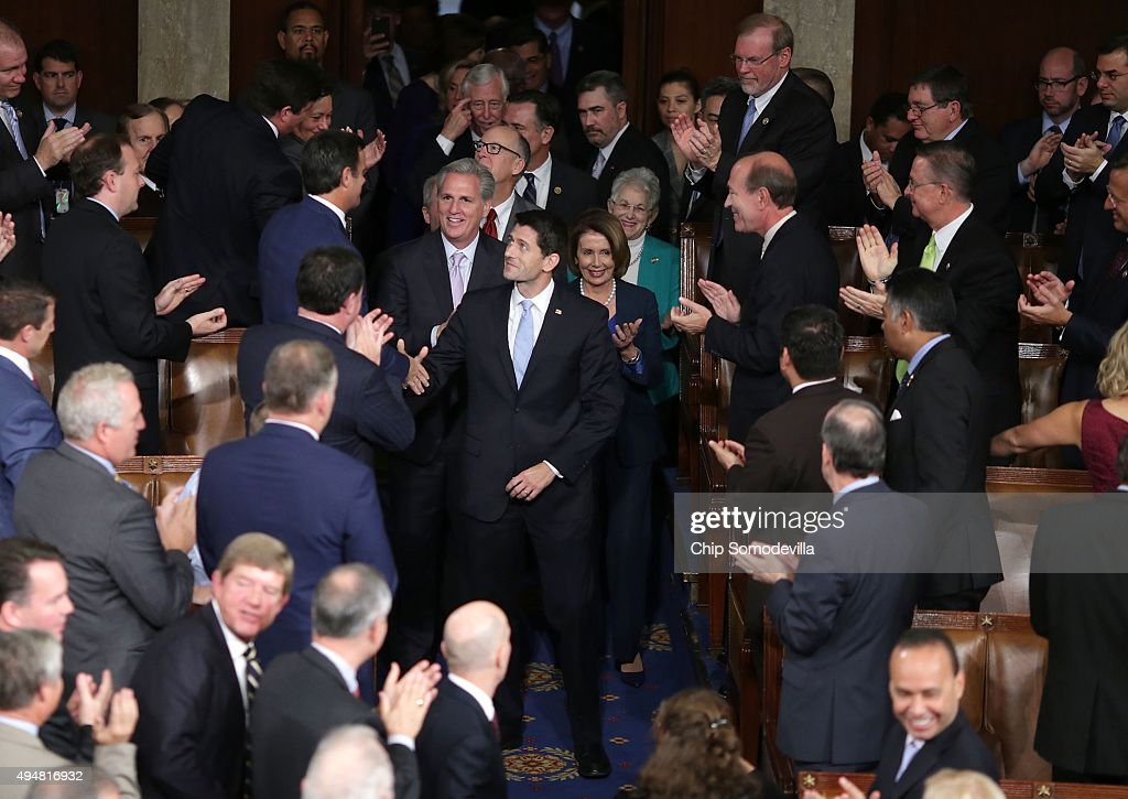 Speaker-elect of the House Paul Ryan (R-WI) is escorted into the House of Representatives chamber at the U.S. Capitol October 29, 2015 in Washington, DC. The House elected Rep. Paul Ryan (R-WI) as the 62nd Speaker of the House, replacing Rep. John Boehner (R-OH).