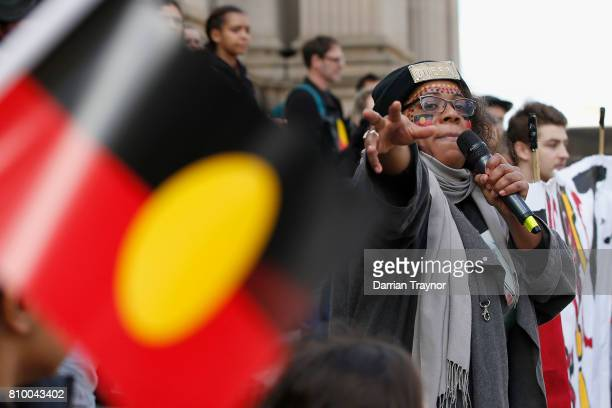 Speakers address the large crowd on the steps of Parliament House during the 2017 NAIDOC March on July 7 2017 in Melbourne Australia The march was...