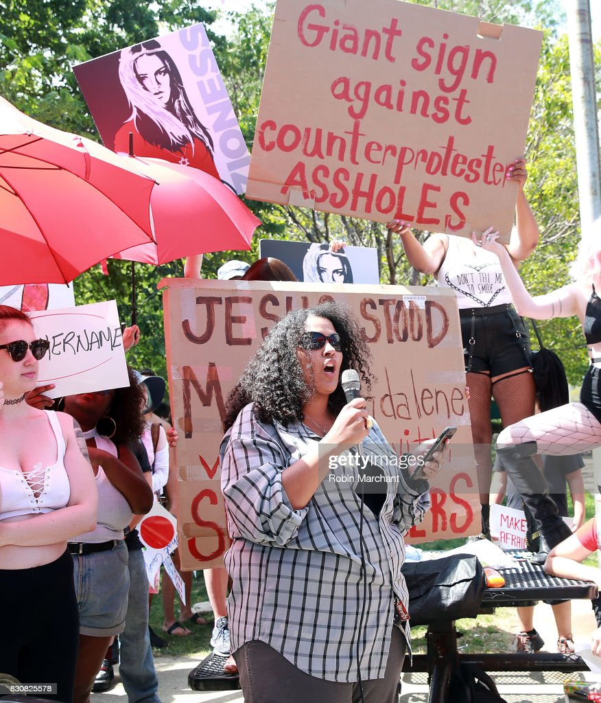 Speakers at Chicago SlutWalk on August 12, 2017 in Chicago, Illinois.