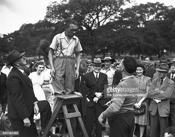 Speakers' Corner A speaker lectures a bemused audience in the Domain Sydney 12 January 1947 SMH Picture by F BURKE