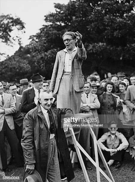 Speakers' Corner An orator addressing crowds at The Domain in Sydney in 1949 SMH NEWS Picture by STAFF
