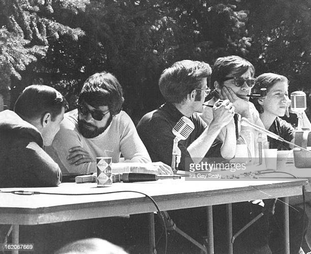 APR 21 1968 APR 22 1969 Speakers Huddle at opening Session Monday of University of Denver's Awareness Week From left are Phillip Crane member of the...