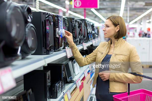 speakers in electronics shop - electronics store stock photos and pictures